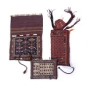 A Turkoman flatwoven Okbash or tent pole bag, 29 x 65cm; together with two Baktiari bags, 40 x