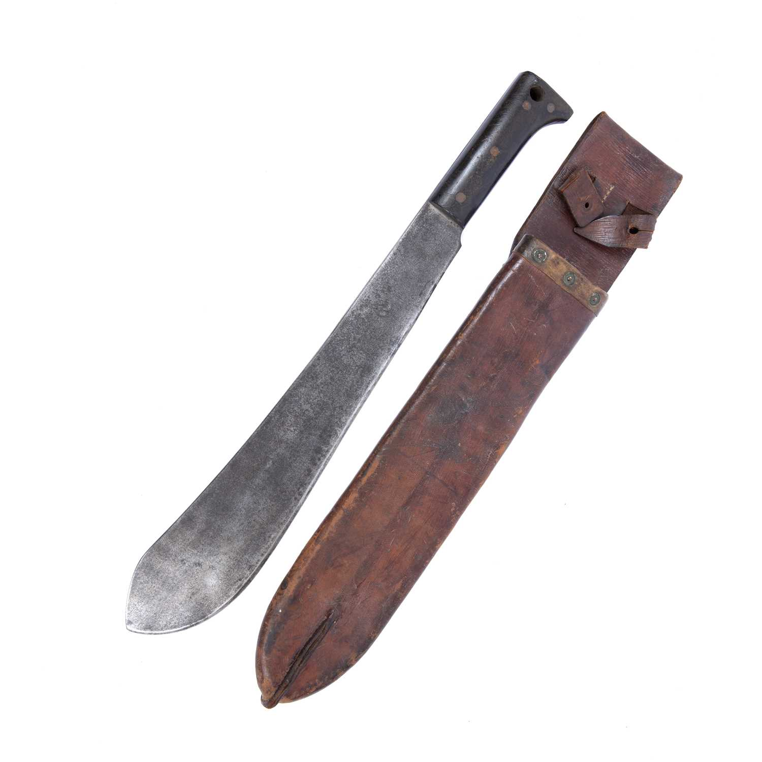 A WWII US army machete by Legitimus & Collins, no. 1250, with ebonised handle and leather
