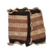 An African Ceremonial Kuba dance skirt, raffia and cloth, with embroidered long panels, a dyed cut