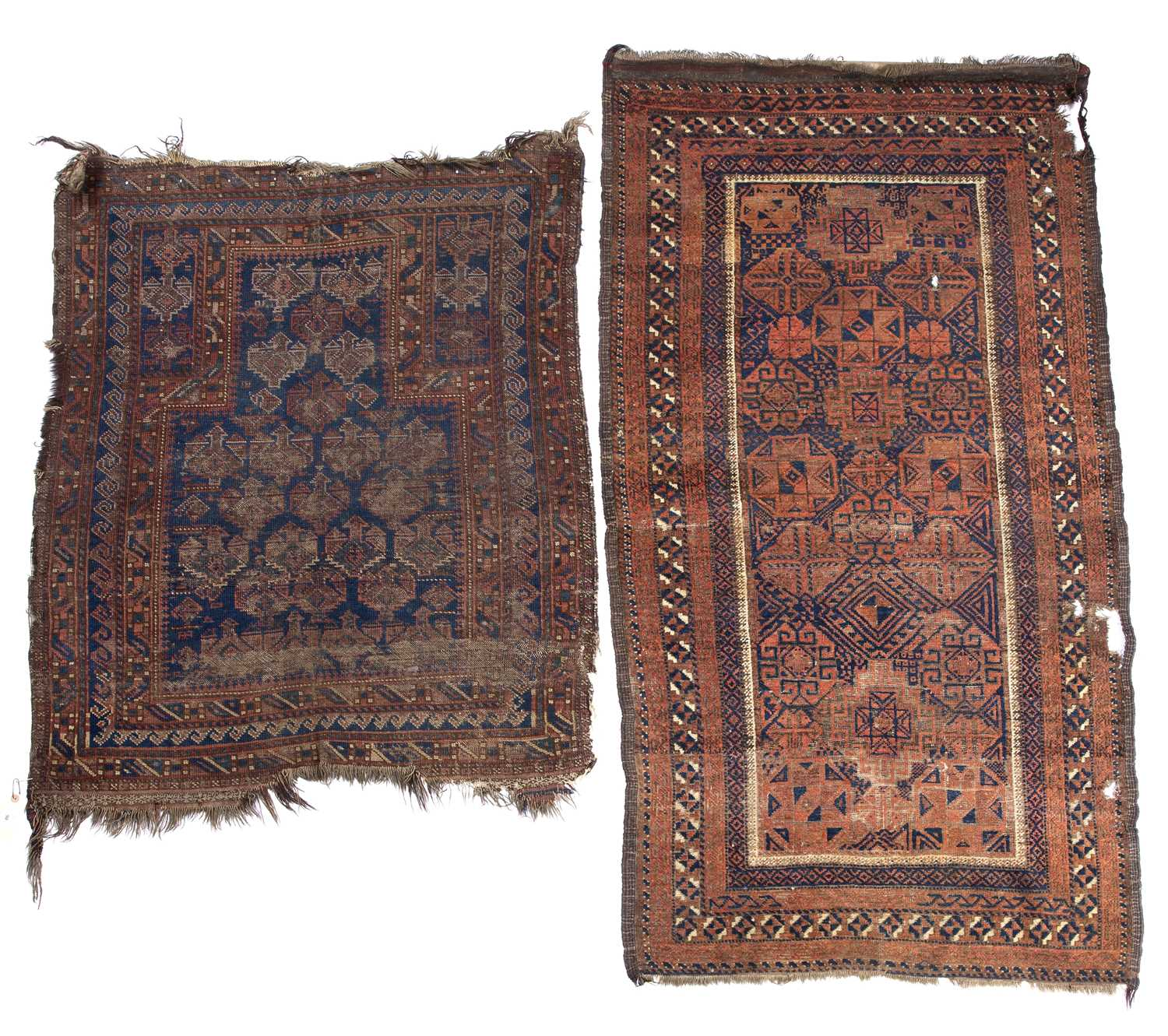 An old Belouch prayer rug with a central pattern of guls on a dark blue ground, 114 x 99cm and