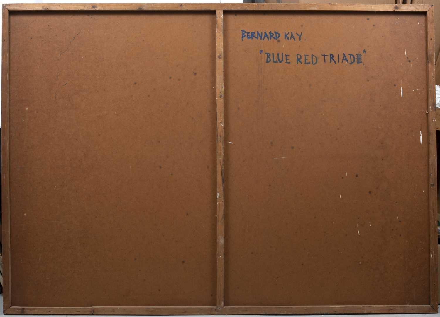 Bernard Kay (1927-2021) Blue Red Triad, 1951 signed and dated (lower right), titled (to reverse) oil - Image 2 of 3
