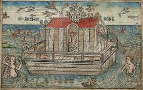 A 17th century German wood cut depicting Noah's Ark, with gothic script verso, later coloured, 11.