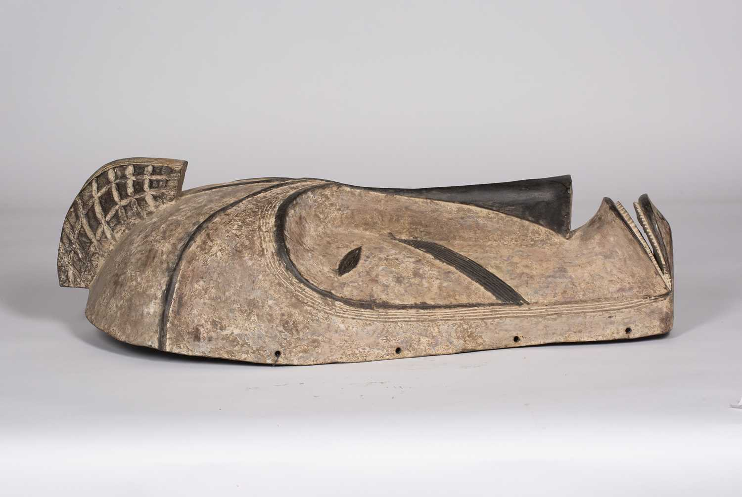 A Fang mask, Gabon, carved wood with incised line marks with black and white pigments, 74cm high - Image 2 of 5