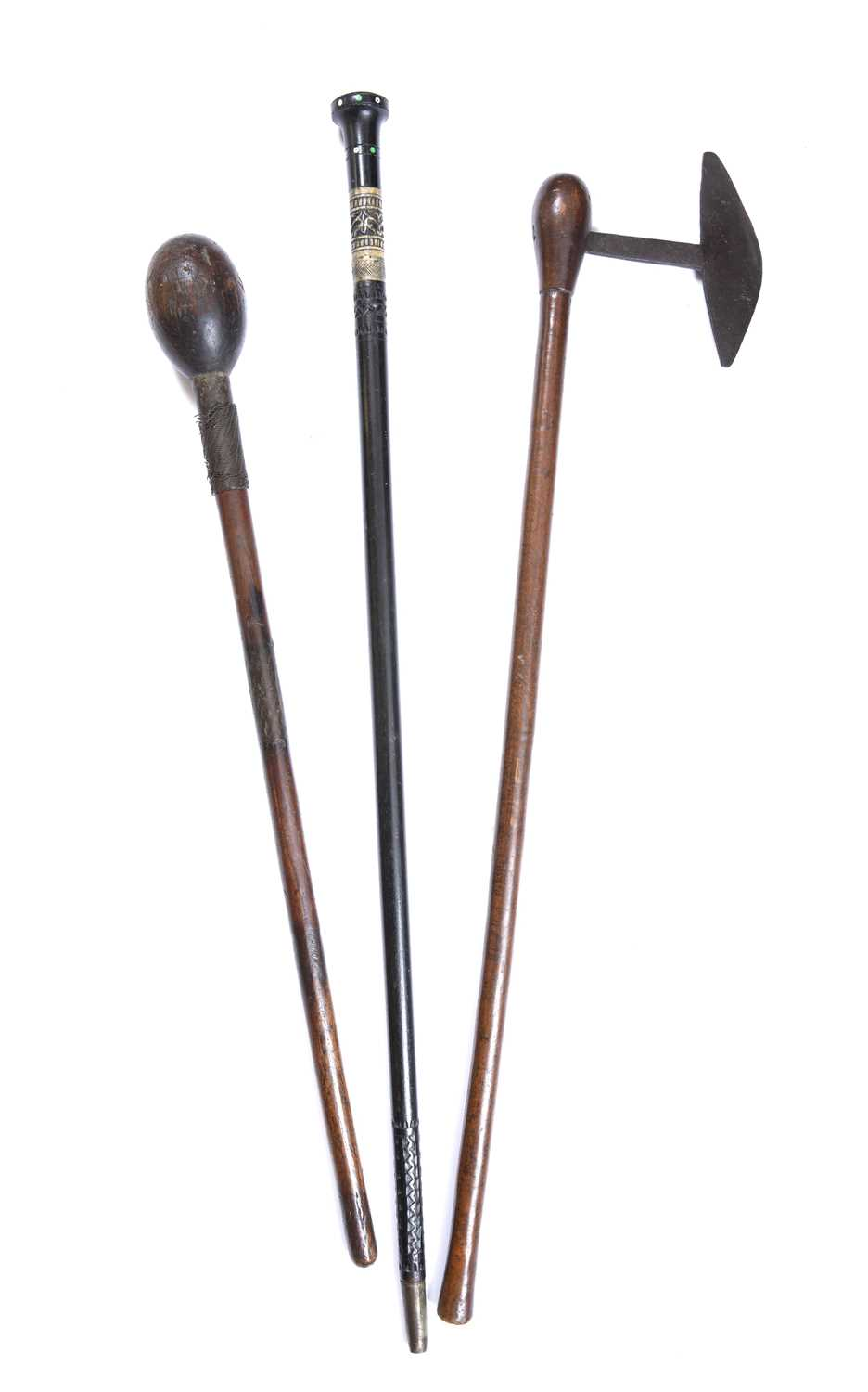 A South African Zulu knobkerrie, carved wood with metal wire grips together with an axe and a - Image 2 of 3
