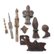 A collection of eight pieces of ecclesiastical wooden carvings, probably English, medieval and