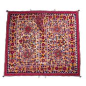 An Indian Saurashtra festival bullock cover, multi-coloured with mirrored decoration, 160 x 142cm
