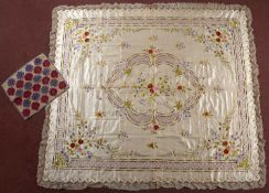 A fine 19th century Turkish embroidered satin bed cover, 194 x 173cm; and a small embroidered panel,