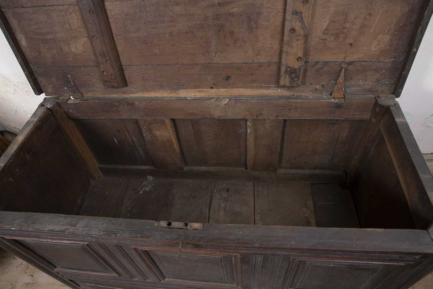 A late 17th Century oak coffer, with triple panelled front above two drawers, on block feet, 124cm - Image 5 of 5