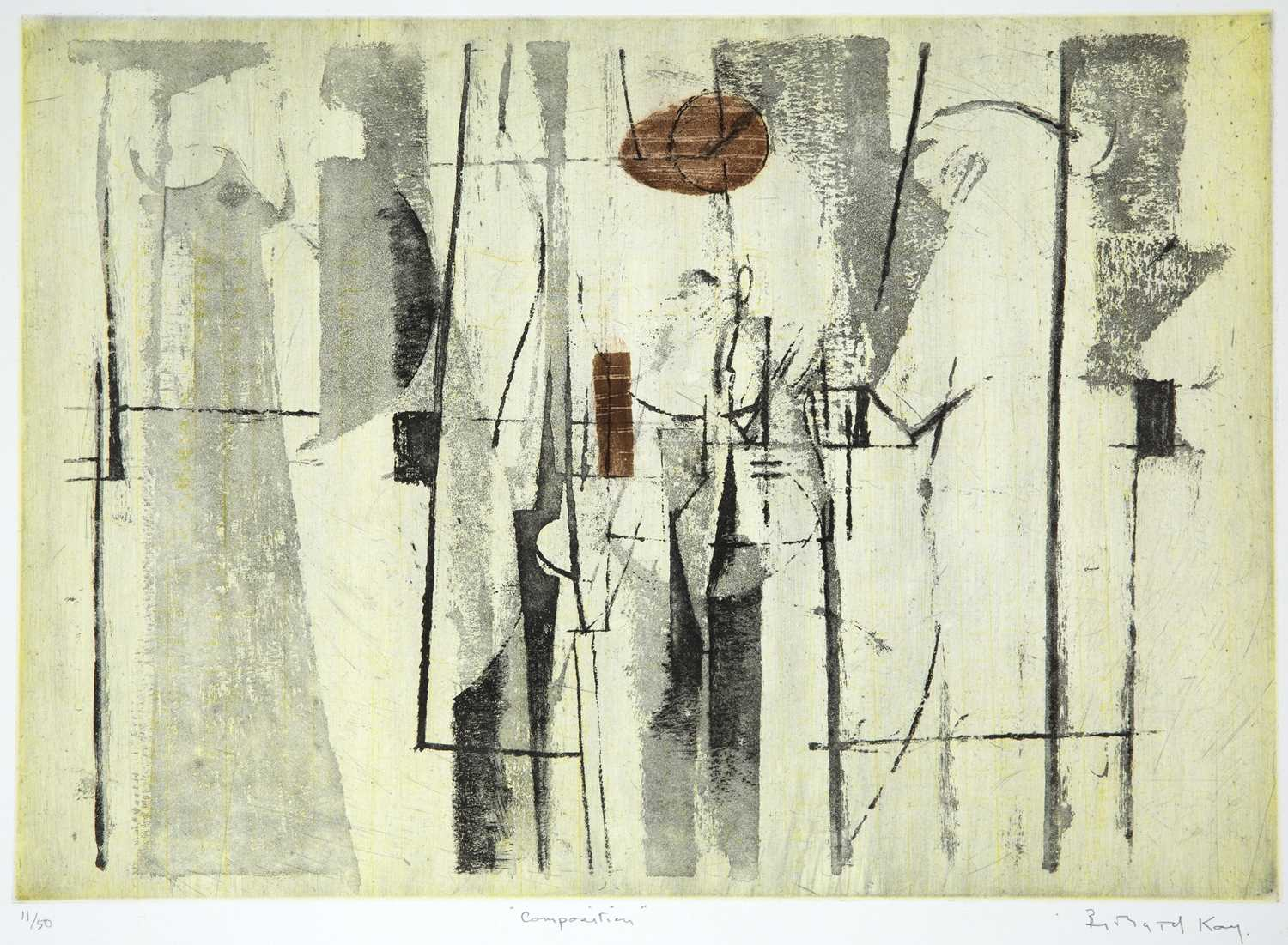 Bernard Kay (1927-2021) Composition signed and inscribed in pencil etching and aquatint 33 x 47cm.