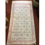 An Isfahan printed cotton table cover or wall hanging depicting Persepolis, 260 x 132cm