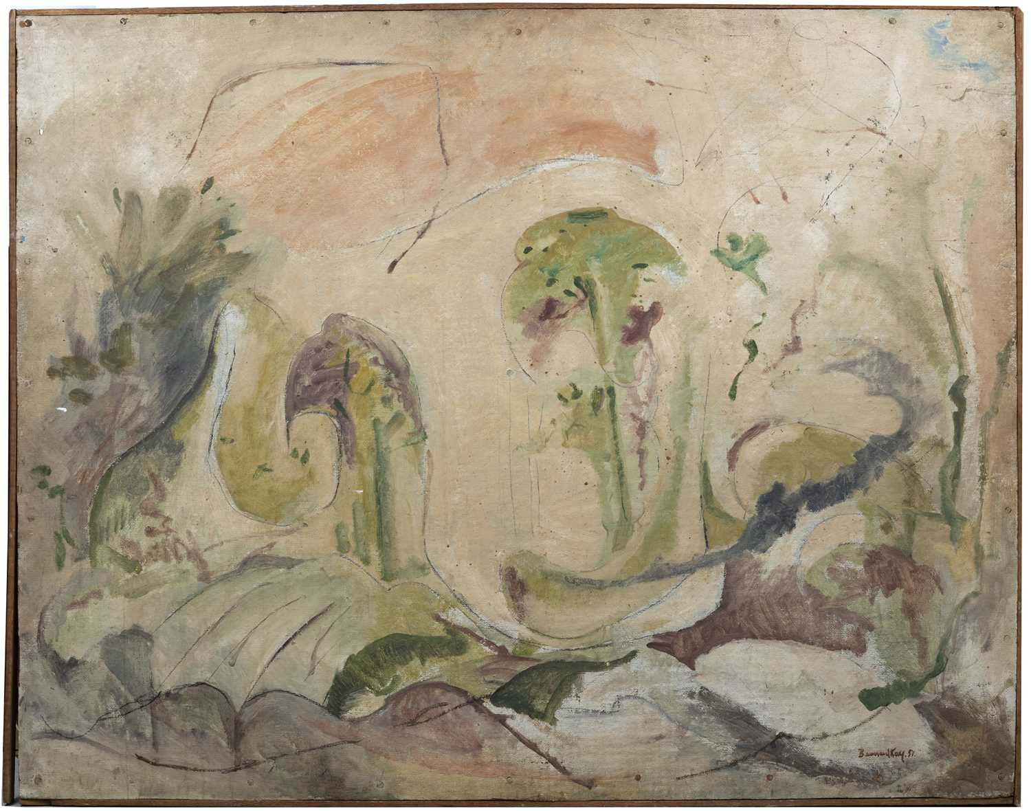 Bernard Kay (1927-2021) Untitled landscape, 1951 signed and dated (lower right) oil on board 102 x - Image 3 of 4