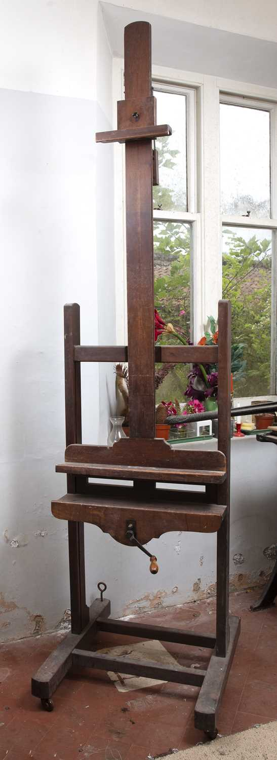 A Victorian mahogany artist's easel, with adjustable column, and shaped base with castors, 66cm - Image 3 of 3