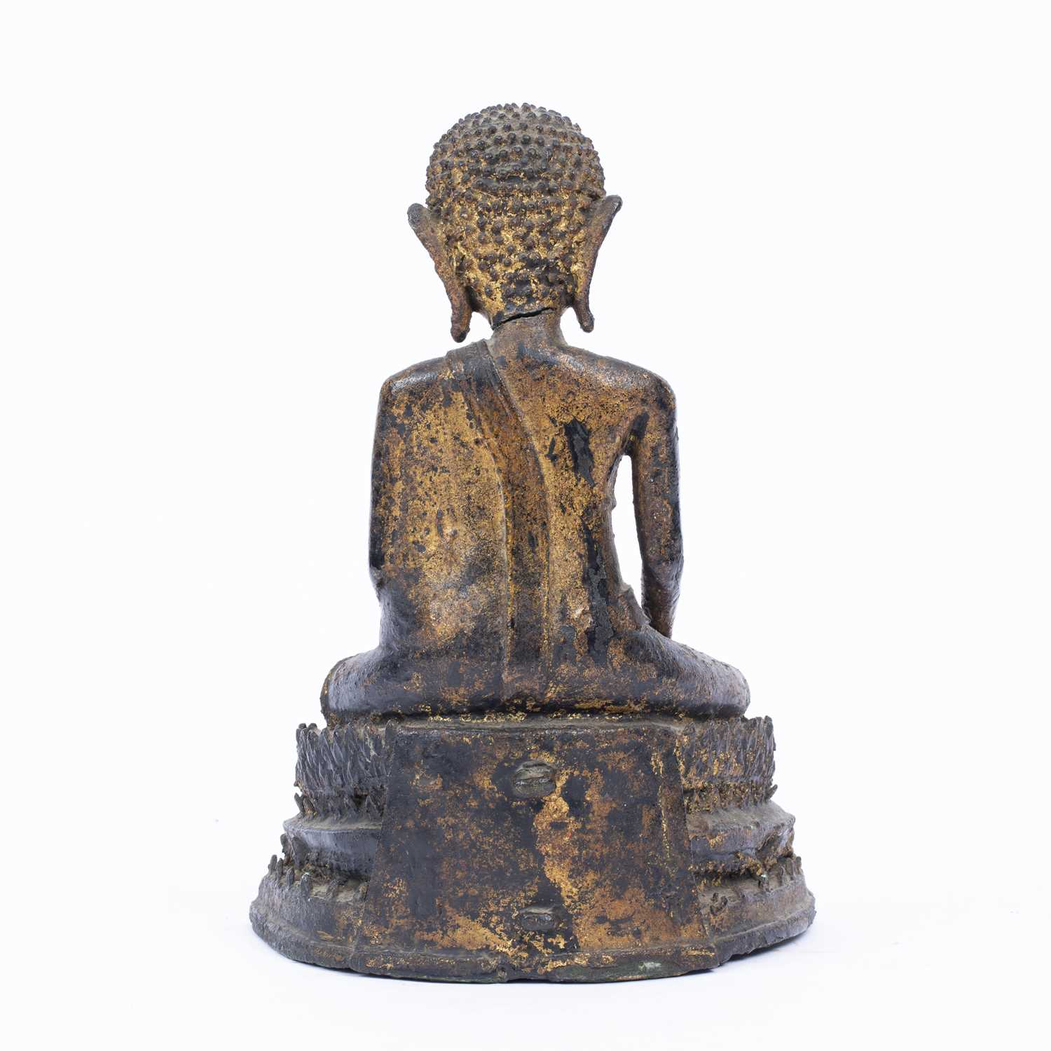 An antique Thai bronze seated Buddha, formerly gilded on an integral stepped base, 25.5cm high - Image 2 of 3
