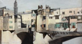 Bernard Kay (1927-2021) Three oil paintings - a ruined abbey; and two street scenes all unsigned