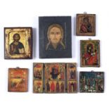 A collection of seven old reproductions of Byzantine Orthodox Icons, varying size, 21 x 16.5cm and