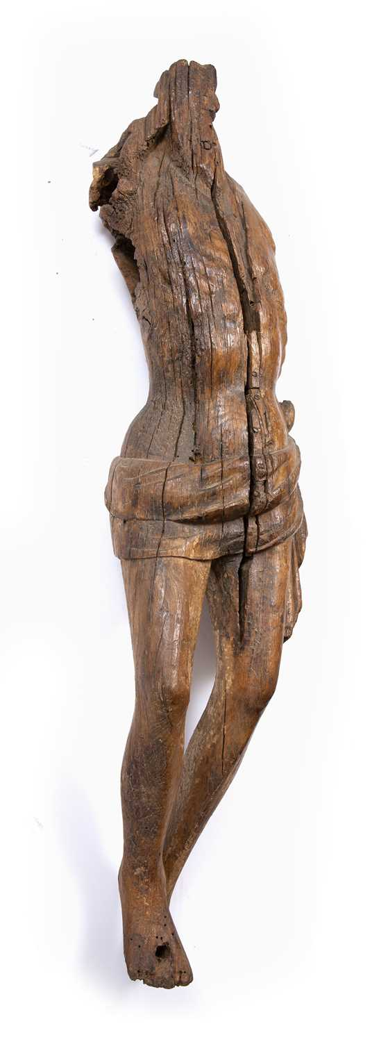 A carved wood Corpus Christi, perhaps Medieval French, of rustic torso form with loin cloth, 110cm - Image 2 of 3