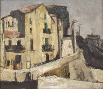 Bernard Kay (1927-2021) Houses in Banyuls, 1970 signed, dated, and titled (to reverse) oil on