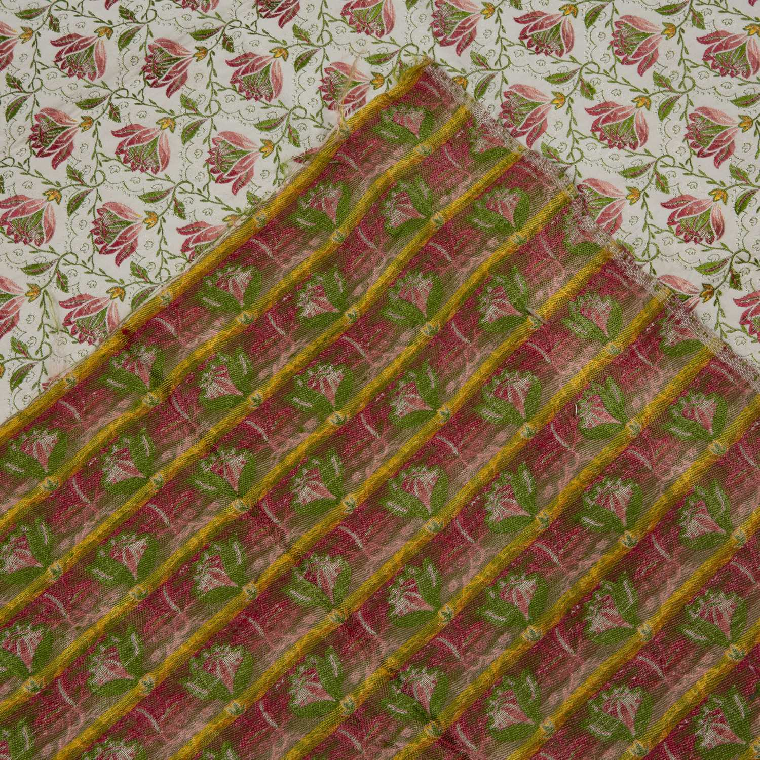 A silk brocade fragment with apple green and red flower repeating motif, 146 x 120cm - Image 2 of 2