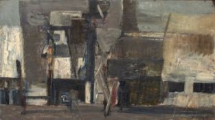 Bernard Kay (1927-2021) Edifeses, 1955 signed and dated (lower right), titled (to reverse) oil on