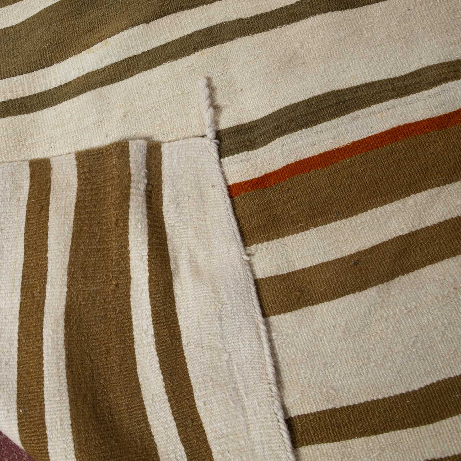 A Turkish plain weave rug with sage and white bands, 418 x 152cm - Image 4 of 4