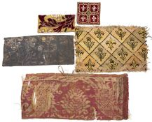 An early French embossed leather rectangular panel decorated mythological lion like creatures, old
