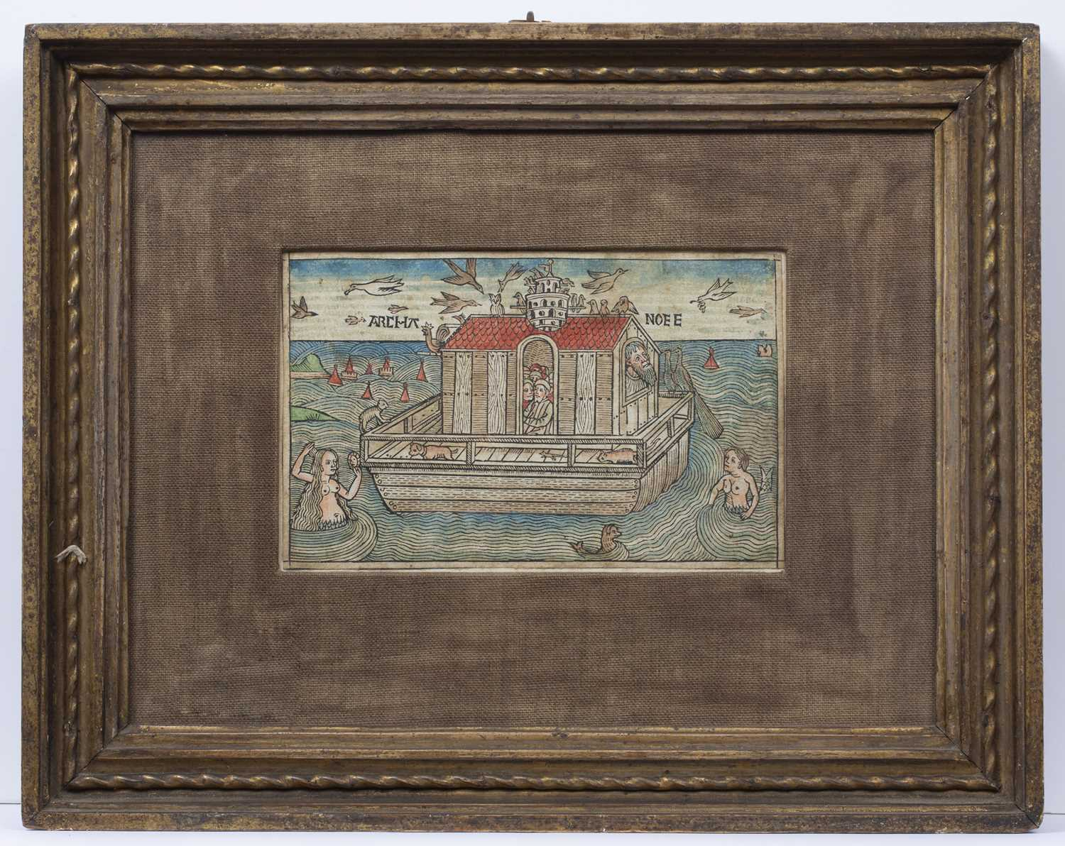 A 17th century German wood cut depicting Noah's Ark, with gothic script verso, later coloured, 11. - Image 2 of 3