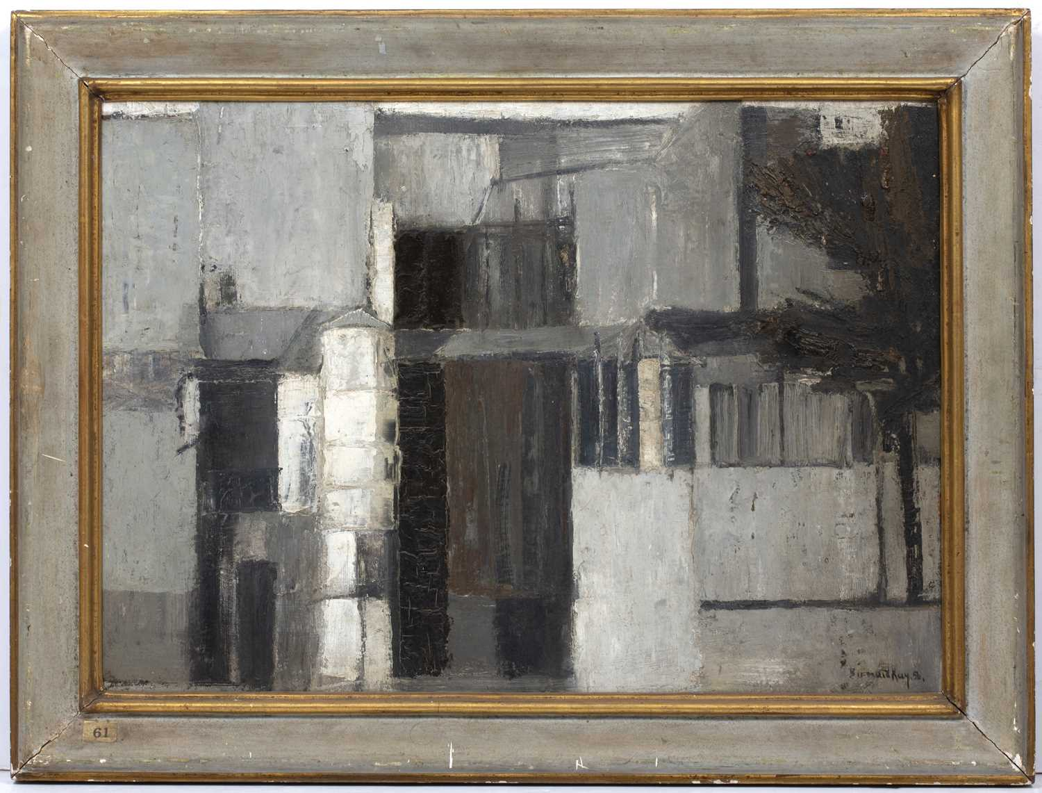 Bernard Kay (1927-2021) Mansion, 1956 signed and dated (lower right), titled (to reverse) oil on - Image 3 of 4