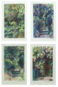 Bernard Kay (1927-2021) Hammersmith Garden Summer, 1977 a series of eight watercolours framed as two