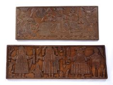 A West African Benin carved rectangular panel depicting the central OBA, or traditional ruler,