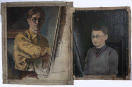 Bernard Kay (1927-2021) Two early self-portraits one signed and dated 1940 oil on canvas largest