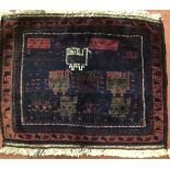 A Belouch dark red ground bag face with stylised bird decoration, original purchase label verso,