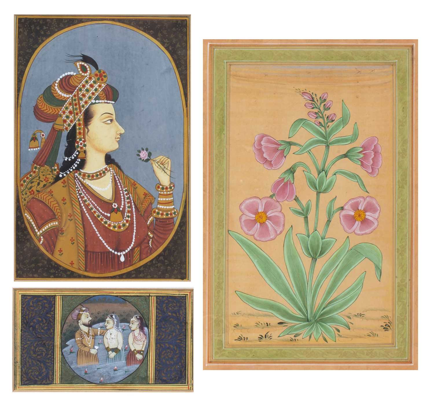 An Indian contemporary miniature portrait painting, 14.5 x 10cm, framed with a baptismal scene, 5