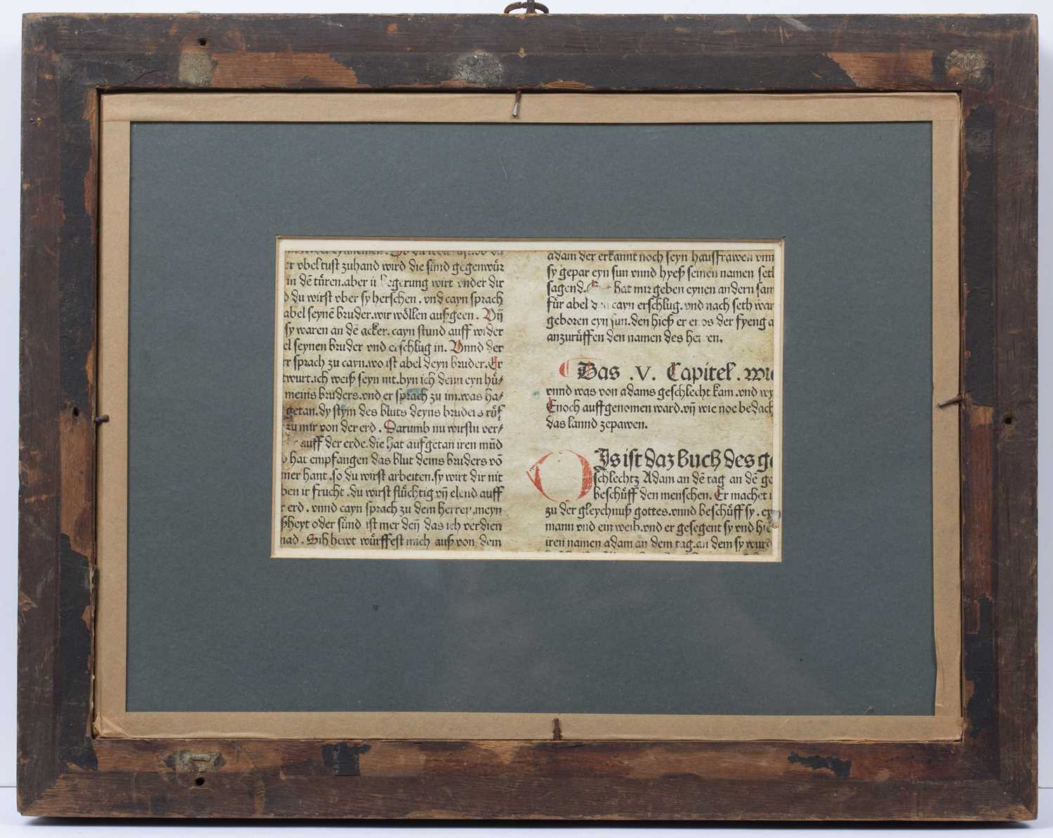 A 17th century German wood cut depicting Noah's Ark, with gothic script verso, later coloured, 11. - Image 3 of 3