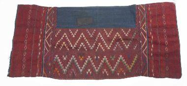 A Burmese handwoven heirloom woman's skirt, Kachin Jinghpaw people, circa 1900, with banded