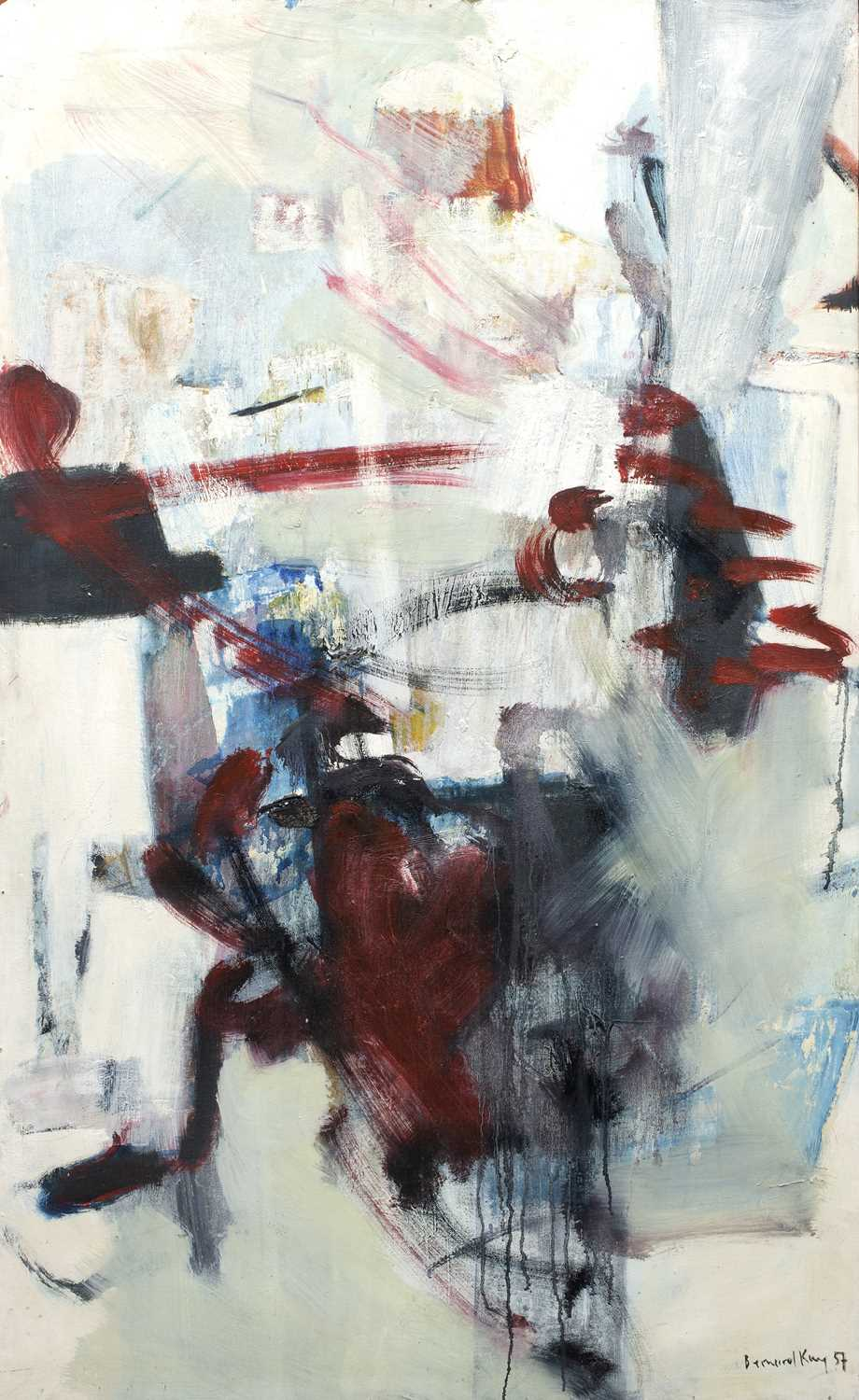 Bernard Kay (1927-2021) Linear Red on White, 1957 signed, dated, and titled (to reverse) oil on