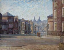 Bernard Kay (1927-2021) Liverpool - Rodney St & Upper Duke St. Towers, Liver Building on in the