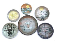 Bernard Kay (1927-2021) Six Vallauris pottery plates, 1955 each signed and dated largest 24cm