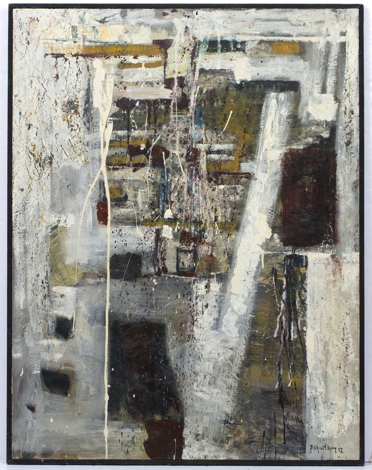 Bernard Kay (1927-2021) Monument, 1957 signed and dated (lower right), titled (to reverse) oil on - Image 3 of 4