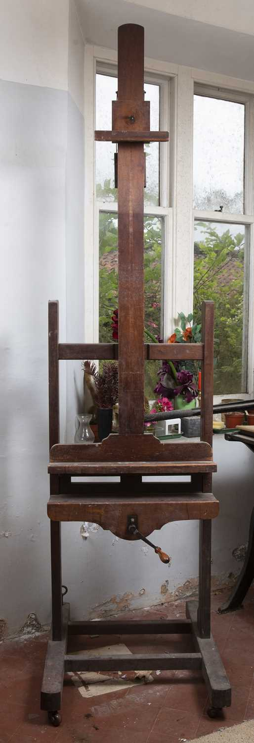 A Victorian mahogany artist's easel, with adjustable column, and shaped base with castors, 66cm - Image 2 of 3