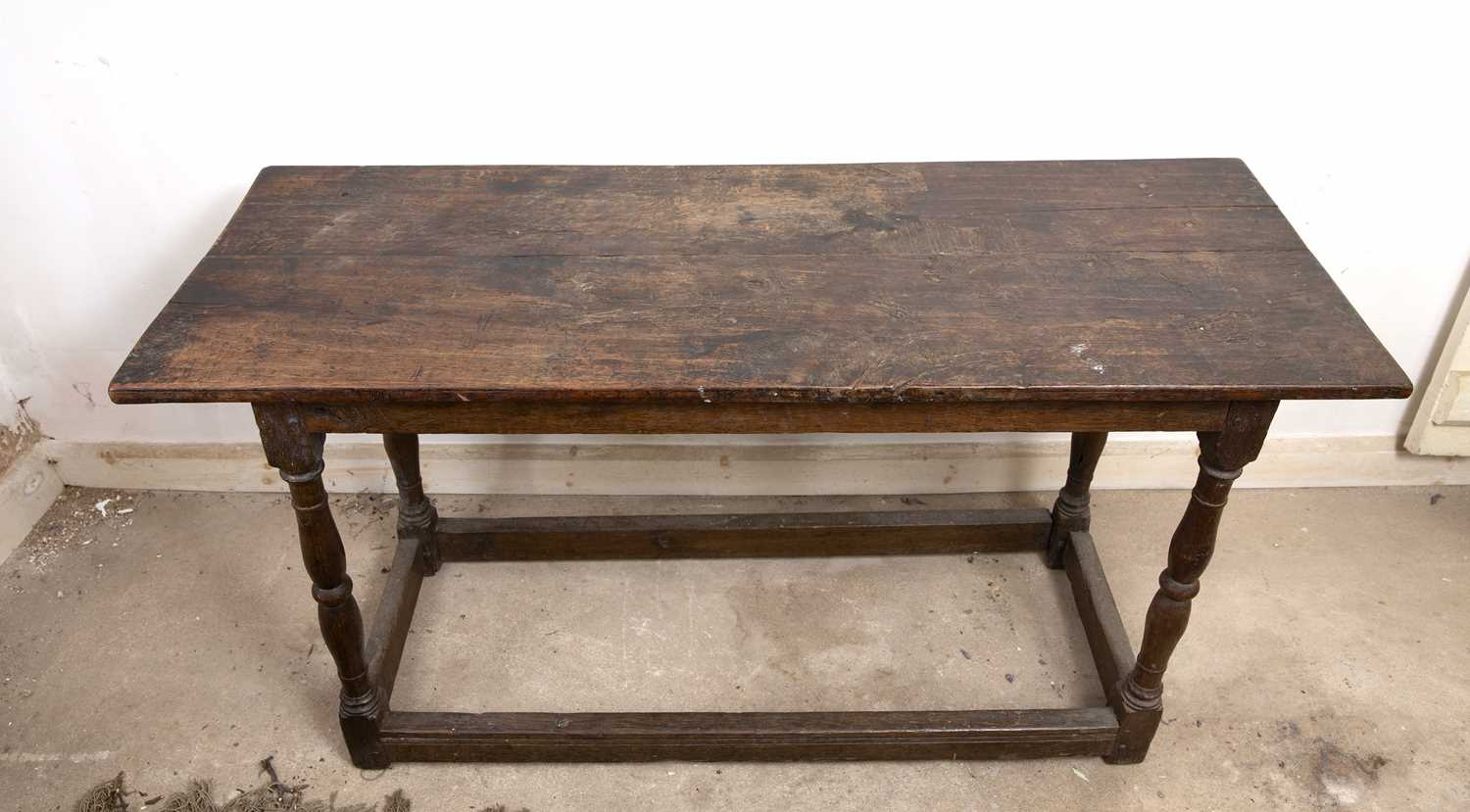 An 18th century oak rectangular side table, on baluster turned legs united by stretchers, 125cm - Image 4 of 4