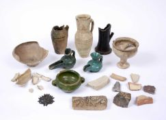 Antiquities:- A collective lot of approximately fifteen pieces including tile fragments, pottery