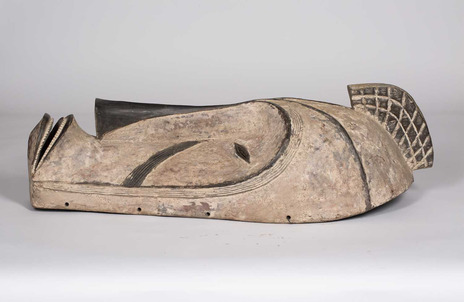 A Fang mask, Gabon, carved wood with incised line marks with black and white pigments, 74cm high - Image 4 of 5