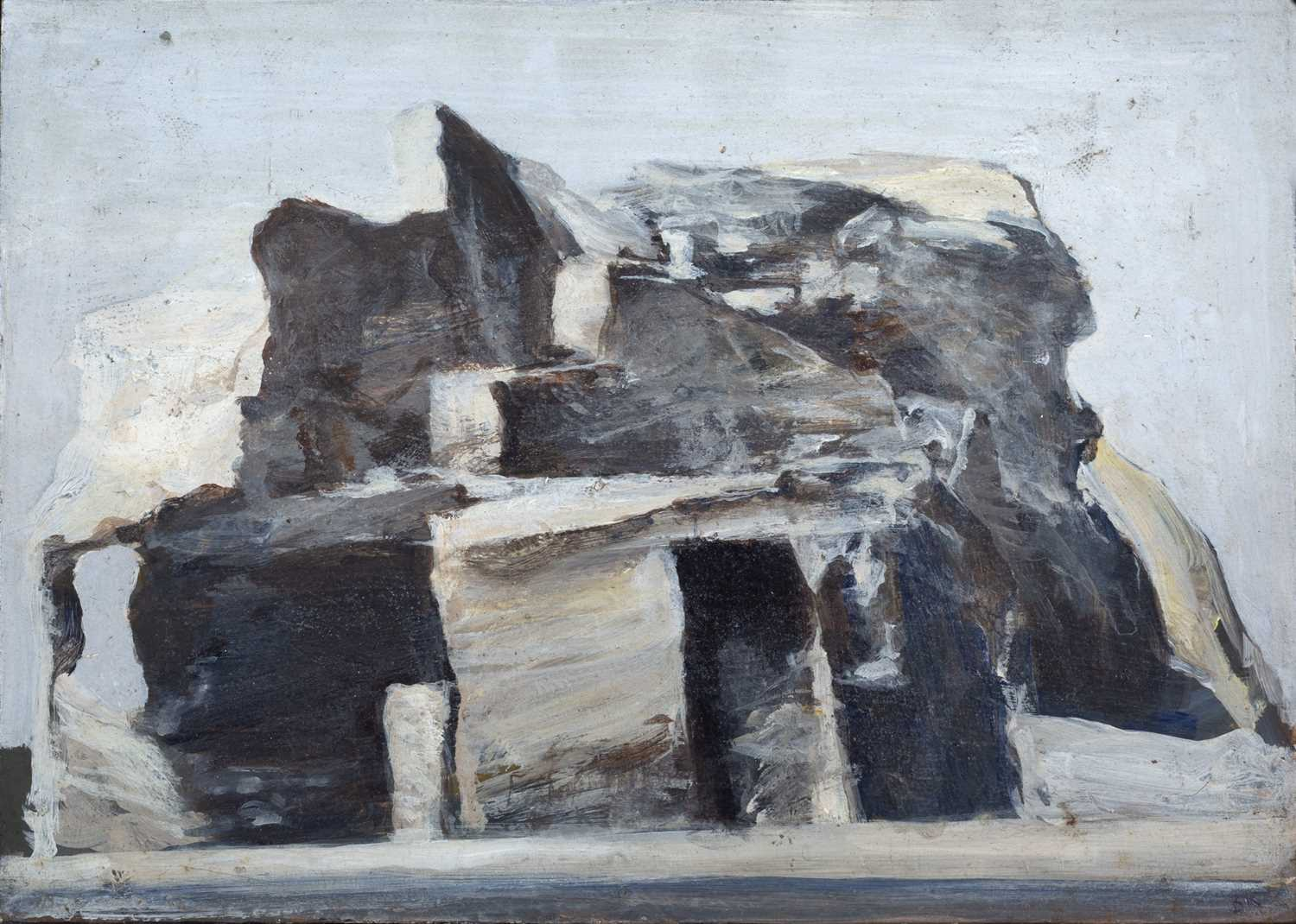 Bernard Kay (1927-2021) Rock Dwelling signed and titled (to reverse) oil on board 17.5 x 25cm.