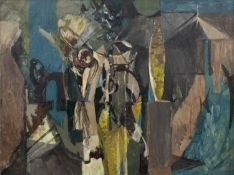 Bernard Kay (1927-2021) Two large unsigned oils - an abstract; and a study of a figure hugging a