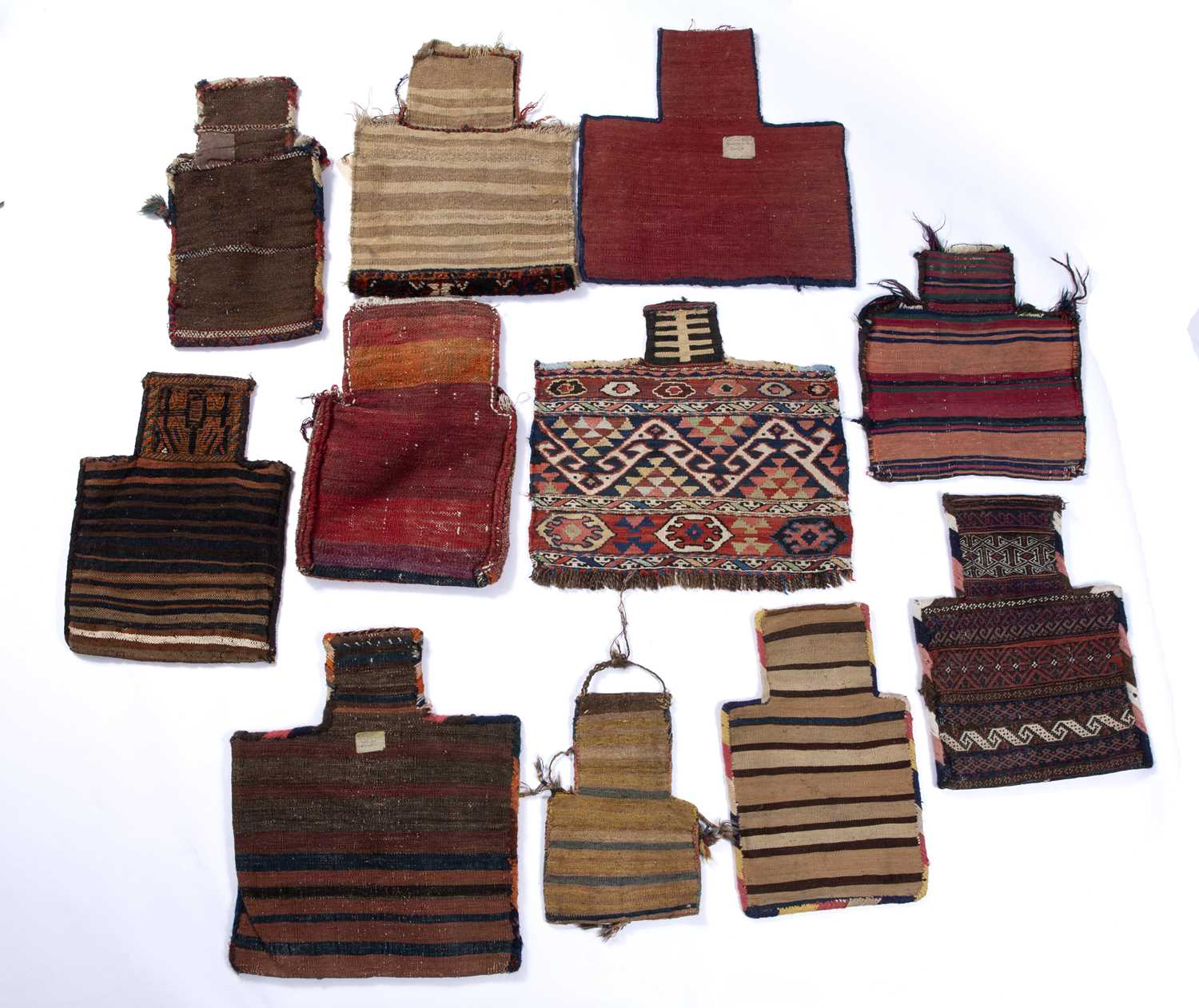 A group of eleven Azerbaijan salt bags of varying design and some with tassel ornament - Image 2 of 2