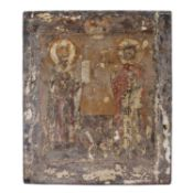 An Antique Orthodox icon depicting two saints with Cyrillic inscription on a pine panel, 36 x 31cm