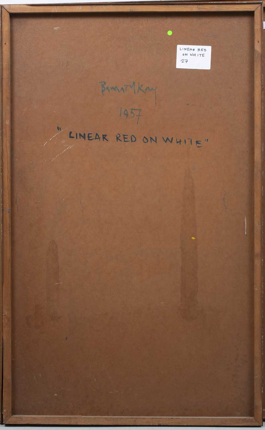 Bernard Kay (1927-2021) Linear Red on White, 1957 signed, dated, and titled (to reverse) oil on - Image 4 of 4