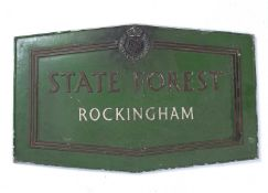 A Forestry Commission 'State Forest Rockingham' green painted metal sign, 66 x 47cm