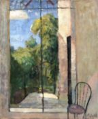 Bernard Kay (1927-2021) Window view with chair signed (lower right) oil on canvas 76 x 63cm.