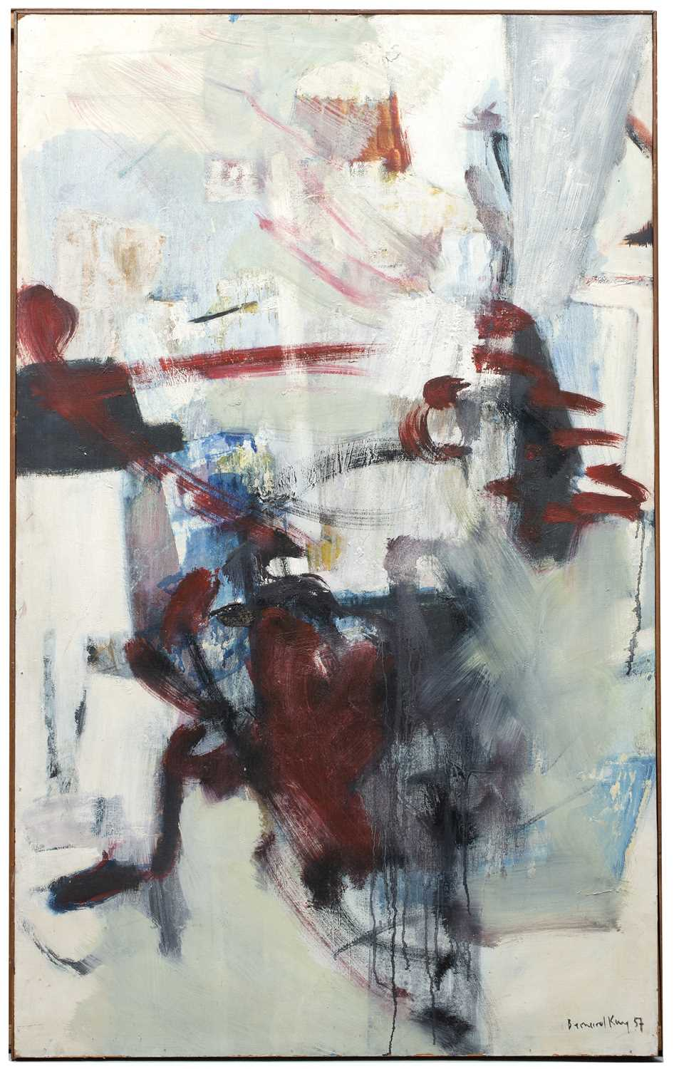 Bernard Kay (1927-2021) Linear Red on White, 1957 signed, dated, and titled (to reverse) oil on - Image 3 of 4